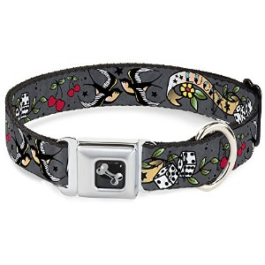 Buckle-Down Lucky Gray Dog Collar Bone, Wide Small/13-18""
