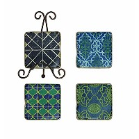Creative Co-Op Patterned Resin Coaster Set with Metal Easel, Multicolor by Creative Co-op