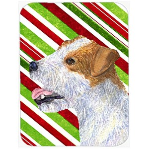 Carolines Treasures SS4573LCB Jack Russell Terrier Candy Cane Holiday Christmas Glass Cutting Board - Large