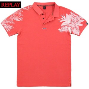 REPLAY/リプレイ M3194B PIQUE POLO SHIRT WITH CONTRAST PRINTボタニカルプリント入り、半袖ポロシャツLIGHT RED(ライトレッド/ピンク)