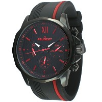 [プジョー] Peugeot 腕時計 Men's Chronograph Sport Watch with Silicon Band Multi Dial Analog Display Quartz...