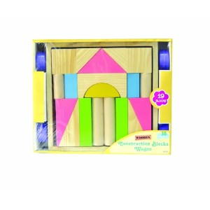 Great Gizmos Wooden Construction Blocks and Wagon (19 Pieces)