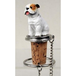 White Bulldog Wine Bottle Stopper - DTB05C by Conversation Concepts