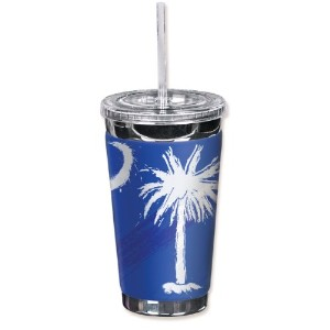 Mugzie 999-TGC Palmetto Moon To Go Tumbler with Insulated Wetsuit Cover, 16 oz, Black by Mugzie