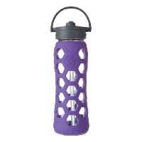 Lifefactory Glass Bottle with Straw Cap and Silicone Sleeve, 22-Ounce 水筒 620ml パープル