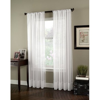 High Quality Soho Voile Sheer Curtain Panel, 59 by 132, Winter White