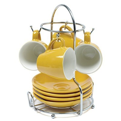 High Quality USA A120-22181T Espresso Coffee Cup Set with Rack 8-Piece, Yellow