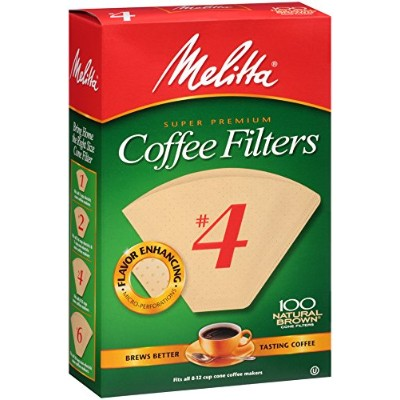 No. 4 Cone Natural Brown Paper Coffee Filter by Melitta