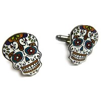 Day of the Dead Dia de Los MuertosスカルマスクCufflinks Cuff Linksセットペア