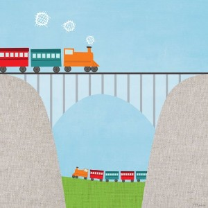 Oopsy Daisy Fine Art for Kids Railroad Bridge Stretched Canvas Art by Vicky Barone 21 by 21-Inch by...