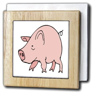 フローレンChildrensアートII – Cute Cartoon Pink Pig – タイルナプキンホルダー 6 inch tile napkin holder nh_48233_1