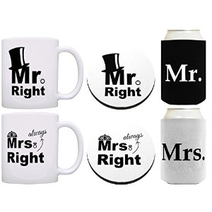 Mr Mrs Always RightバンドルギフトコーヒーMug Cup Can Coolie Drink Coasterバンドル 12オンス