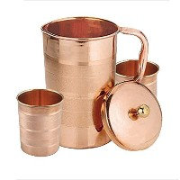 AVS STORE テつョ Pure Copper Luxury Jug With 2 Glass Drinkware Accessories Ayurvedic Healing, Capacity...