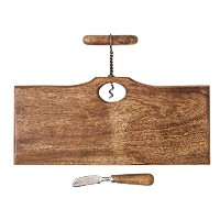 Mud Pie Reserve Collection木製Serving Board withコルクスクリューハンドルアクセント