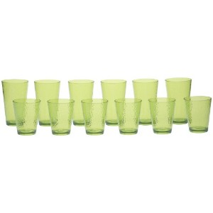 Certified International 12-Piece Hammered Glass Acrylic Hammered Drinkware Set, Lime Green by...