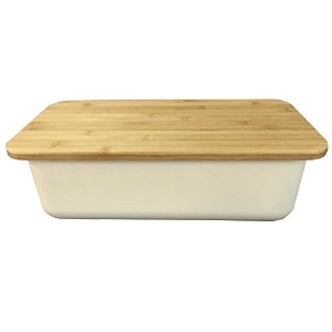 Clean Dezign Bamboo Fiber Bread Box Bin with Cutting Board Lid (Natural White) by Clean Dezign
