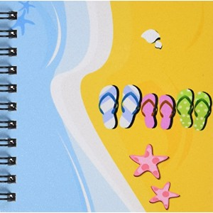"""Anne Marie Baugh–ブルーとオレンジ砂浜ビーチwith Flip Flops and Starシェル–Drawing Book 4 by 4"""" db_125809_3"""