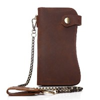 (JSLOVE メンズ 長財布) JSLOVE Men s Genuine Leather Hasp Wallet with Chain