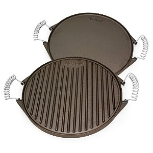 Victoria Reversible Cast Iron Round Griddle with Removable Cool-Touch Handles, 12.5 inch [並行輸入品]