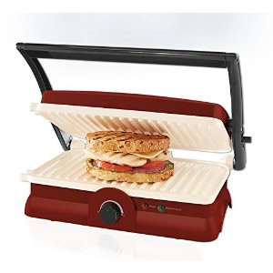 Oster DuraCeramic Panini Maker and Grill, Candy Apple Red [並行輸入品]