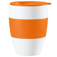 Koziol Insulated Cup Aroma To Go with Orange Lid and Hand Grip [並行輸入品]