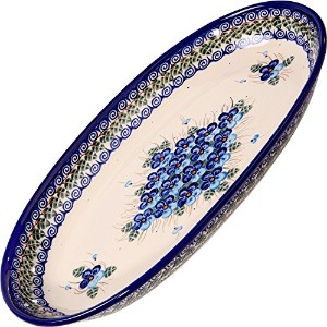 Polish Pottery Ceramika Boleslawiec Platter Karp Cups, Royal Blue Patterns with Blue Pansy Flower...