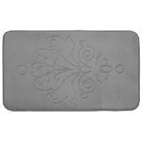 Bounce Comfort Reve Micro Plush Memory Foam Bath Mat, 20 by 32', Light Grey [並行輸入品]