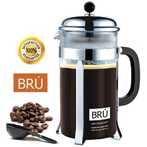Classic French Press ~ BRU Coffee & Tea Maker with DOUBLE Screen Filter and Stainless Steel Plunger...