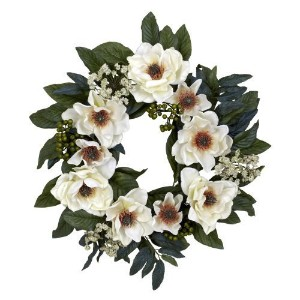 Nearly Natural 4793 Magnolia Wreath, 22-Inch, White by Nearly Natural [並行輸入品]