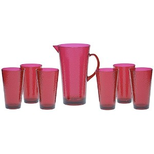Certified International 7-Piece Hammered Glass Acrylic Hammered Drinkware Set, Ruby [並行輸入品]