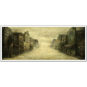 JP London PAN5164 uStrip Wild West Cowboy Gunfight Saloon High Resolution Peel Stick Removable Wallpaper Sticker Mural, 48' Wide by 19.75' High [並行輸入品]
