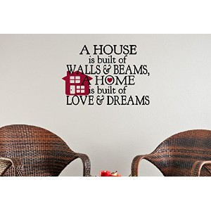 Wall Decor Plus More WDPM3484 A House Built of Walls and Beams Home Built of Love and Dreams Wall...