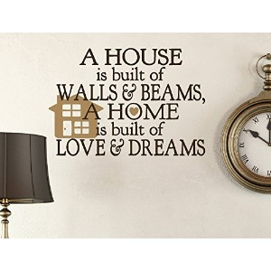 Wall Decor Plus More WDPM3485 A House Built of Walls and Beams Home Built of Love and Dreams Wall...