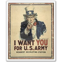 JP London POS2291 uStrip Peel and Stick Removable Wall Decal Sticker Mural I Want You America Army,...
