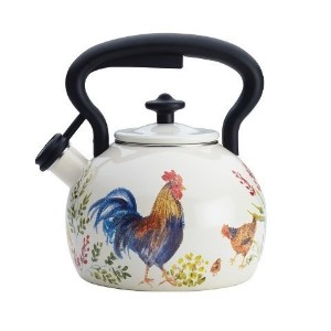 Paula Deen Signature Tea Kettles Enamel on Steel Tea Kettle, 2 quart, Garden Rooster [並行輸入品]