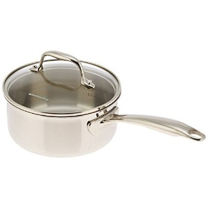 KitchenAid KCT15PLST Tri-Ply Stainless Steel 1.5-Quart Saucepan with Lid Cookware - Stainless Steel...