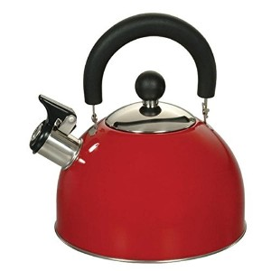 Euro-Ware 309-R Stainless Steel Whisteling Tea/Hot Water Kettle with Cool and Folding Handle, 2.5...
