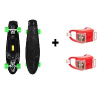 Wealers 27 Inch Plastic Cruiser Skateboard with Super Smooth Pu Wheels, FREE BONUS! 2 Bright...