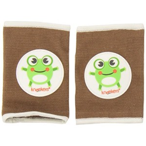Ah Goo Baby Kneekers Baby Knee Pads for Crawling, Unisex, Hoppy Frog Toffee Pattern, For Chunky...
