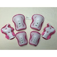 Fantasycart Kid's Roller Blading Wrist Elbow Knee Pads Blades Guard, Pink and White [並行輸入品]