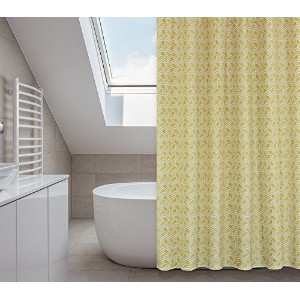 Metro Chevron Shower Curtain Set (14 pieces) in Buttercup and Mustard Yellows [並行輸入品]