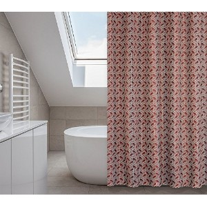 Metro Chevron Shower Curtain Set (14 pieces) in Rustic Reds [並行輸入品]