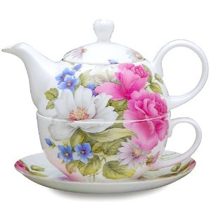 Gracie Bone China 4-Piece Tea For One Stacked 9-Ounce, Pink Grace's Rose [並行輸入品]