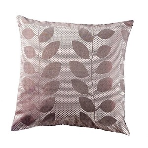Loft Collection Leaf Jacquard Decorative Pillow Replacement Cover, Coffee Brown [並行輸入品]