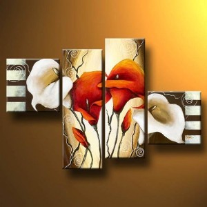 "Wieco Art 4-Piece ""Scents of Callas"" Stretched and Framed Hand-Painted Modern Oil Paintings on..."