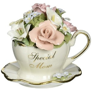 Cosmos 80025 Fine Porcelain Special Mom Cup and Saucer Bouquet Musical Figurine, 4-3/4-Inch [並行輸入品]