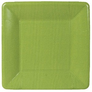 Caspari Entertaining Grosgrain Border Square Salad/Dessert Plates, Moss Green, 8-Pack by Caspari ...