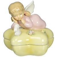 Cosmos 10381 Lidded Box Angel with Bunny Figurine, Fine Porcelain [並行輸入品]
