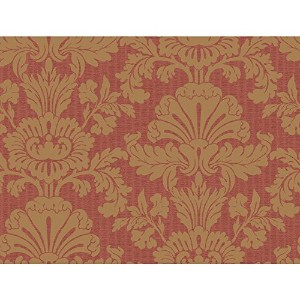 York Wallcoverings Red Book Shell Damask Wallpaper Memo Sample, 8 by 10-Inch, Deep Red/Gold [並行輸入品]