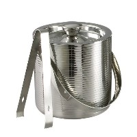 Elegance Lines 6-Inch Stainless Steel Ice Bucket With Tongs [並行輸入品]